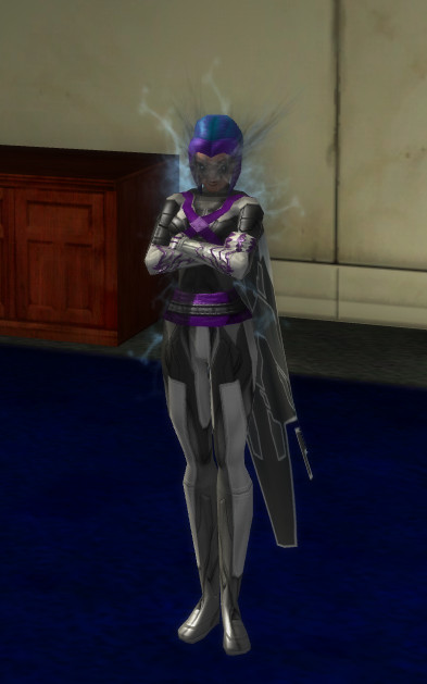 Screenshot of a female Warshade superhero in City of Heroes